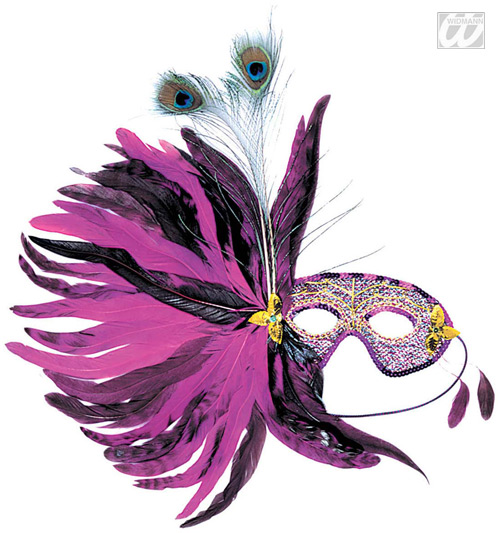 Venetian Mask with purple feathers