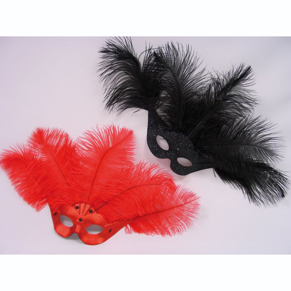 Venetian Mask red with Feathers