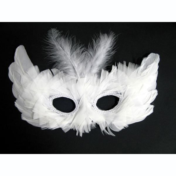 Venetian Mask with white Feathers