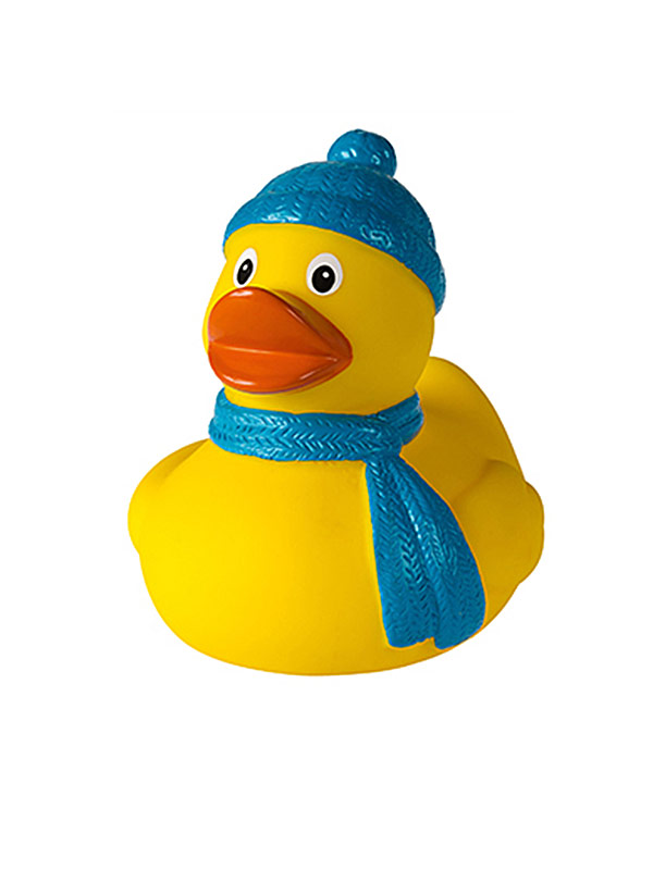 Badeente Winter gelb-blau