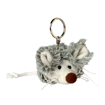 Key Chain Plushie Mouse grey