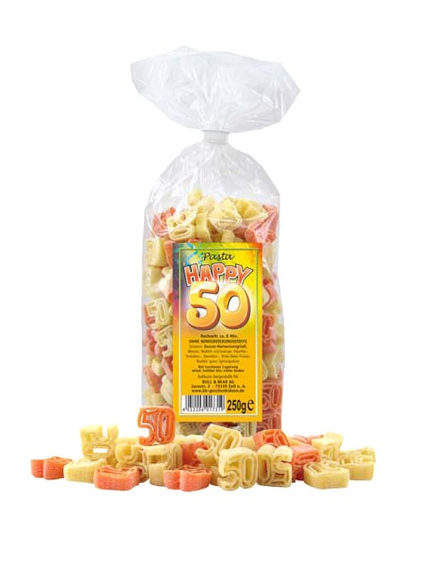 Multicoloured Birthday Noodles Pasta 50 Years 250g
