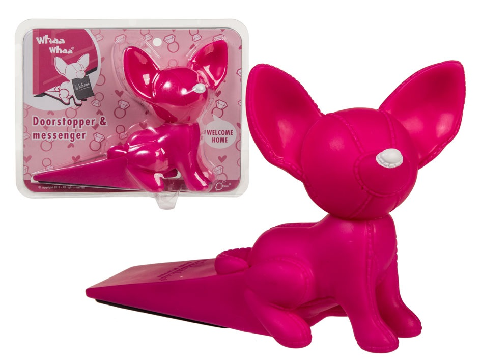 Sweet Chihuahua Doorstop with Note Holder pink