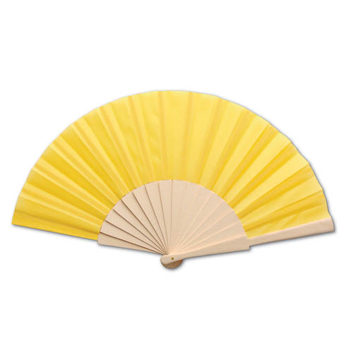 Fan with wooden Handle, yellow