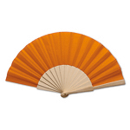 Fan with wooden Handle, orange