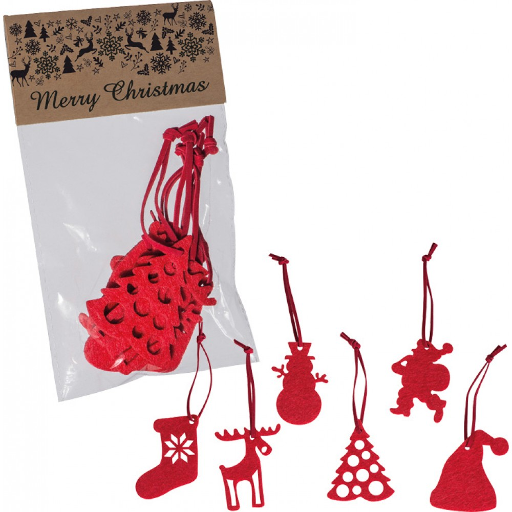 Christmas Tree Felt Decorations Set of 6 red