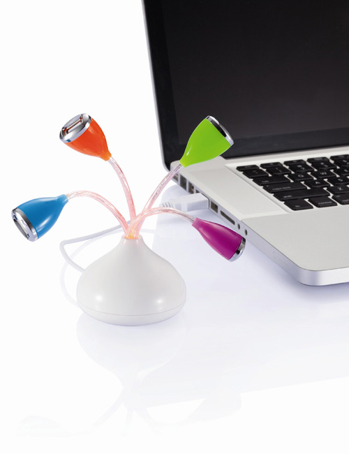 Flower 4-Port USB Hub mit LED