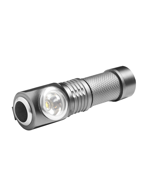 Mini Angle Flashlight With Clip silver grey