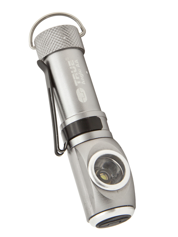 Mini Angle Flashlight With Clip silver
