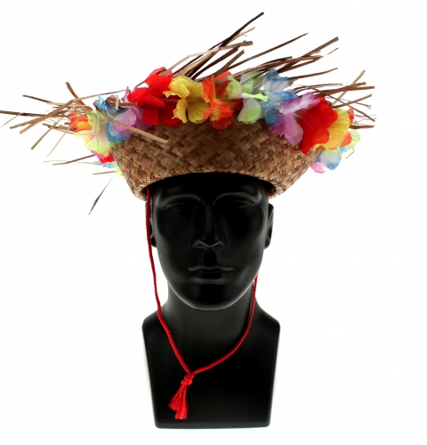 Straw Hat Hawwai with Flowers