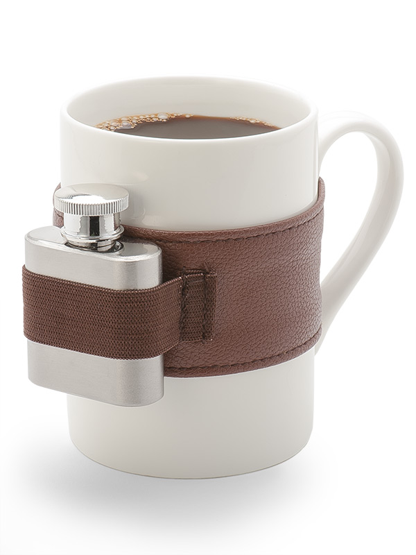 Coffee Cup with Mini Flask and Leather Belt