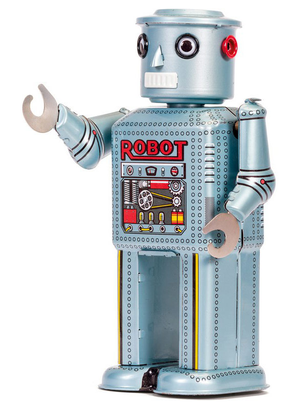 Wind-Up Tin Robot Toy silver-multicoloured