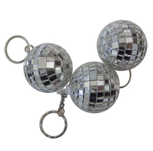 Disco ball key fob silvery