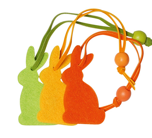 *Felt Decoration bunny sideways in orange