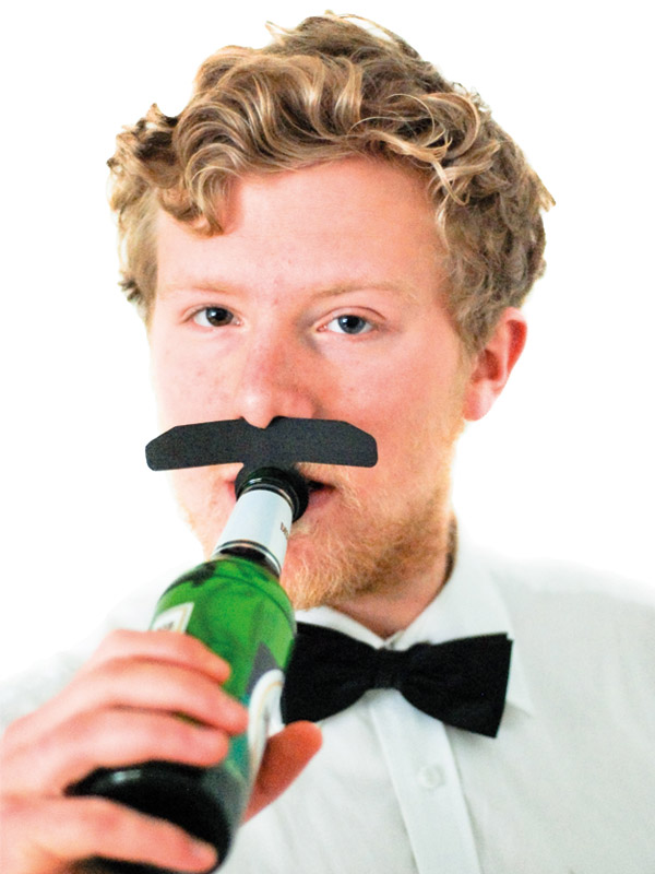Bottle Topper Mustache Balk black
