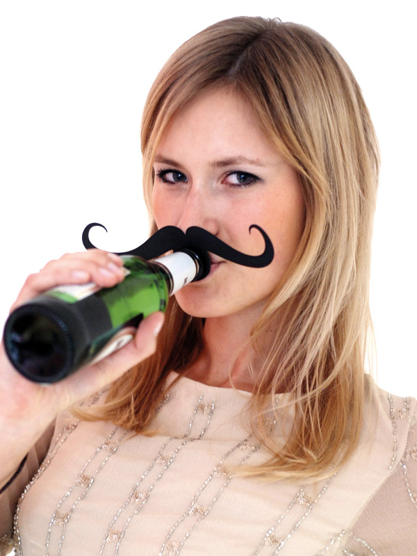 Bottle Topper Mustache Gentleman black