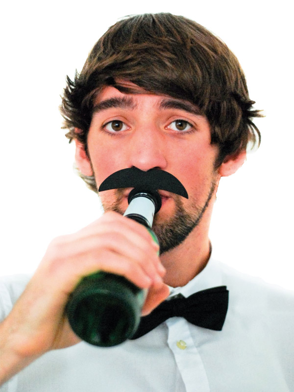 Bottle Topper Mustache Gold Digger black