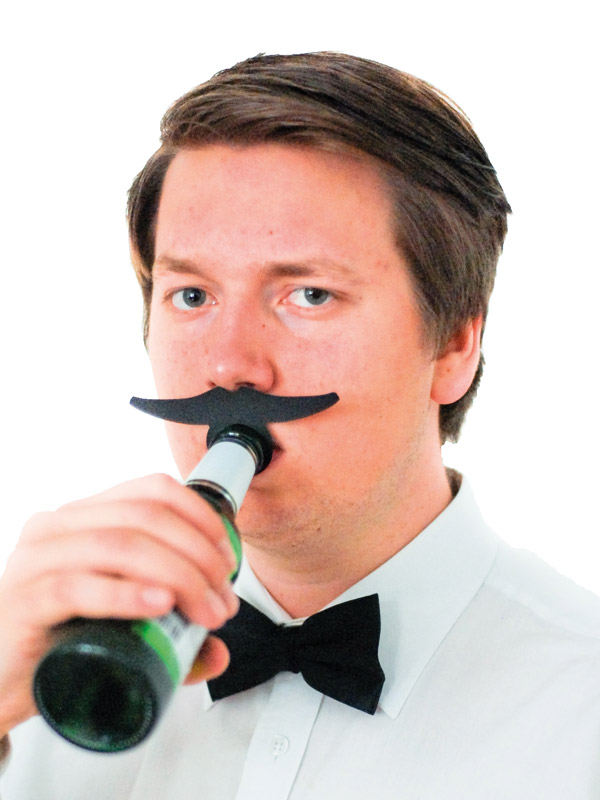 Bottle Topper Mustache Mafia Boss black