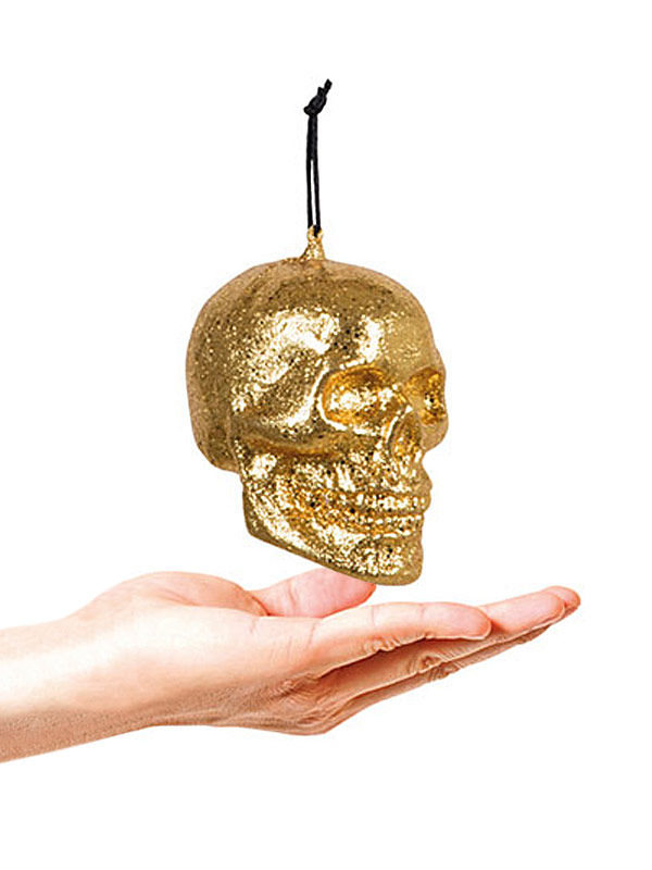 Glitzer Totenkopf Halloween Party-Deko gold 10x8cm
