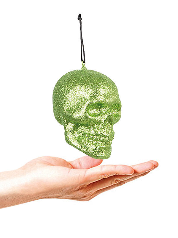 Glitter Skull Halloween Party Deco green 10x8cm