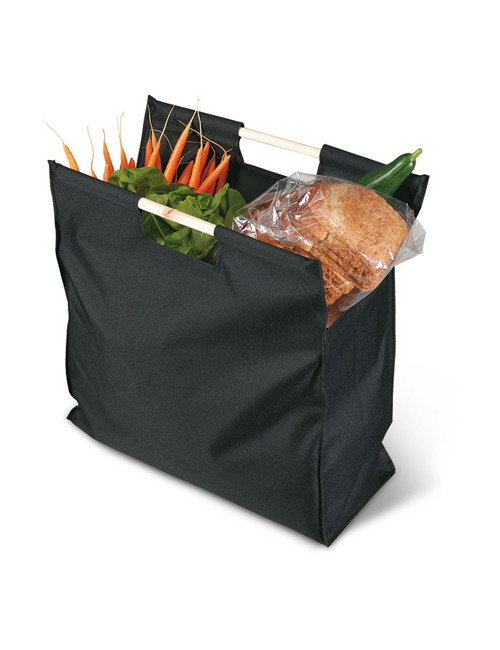 big shopping bag with wooden handle