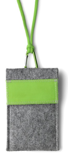 Mobile Phone Bag Neck Pouch Felt grey-green
