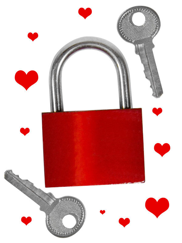 Love padlock for pairs red-silver