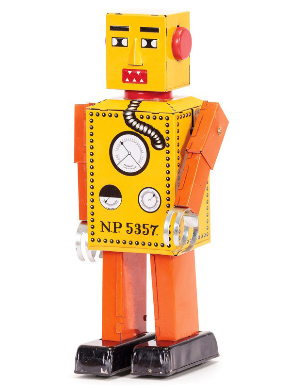 Lilliput Wind-Up Tin Robot Toy orange-yellow