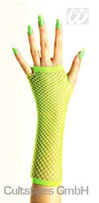 Meshed gloves, neon green