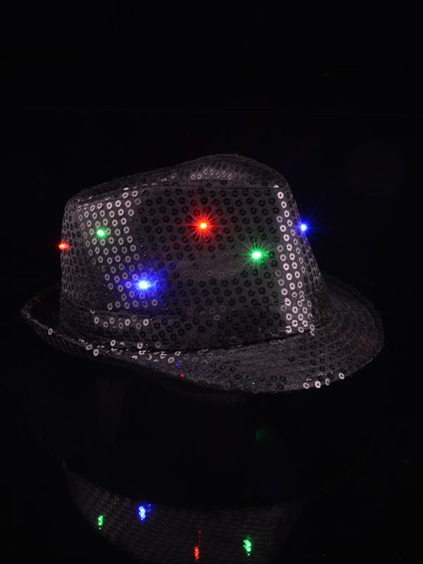 Sequin Hat With Blinking LED lights