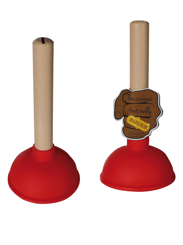 Coin Bank Plunger red-beige