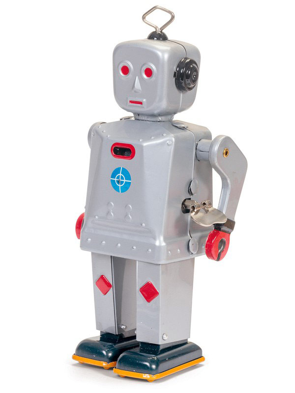 Sparkling Mike Wind-Up Tin Robot Toy silver