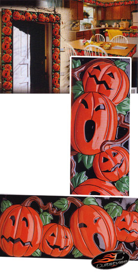 Spooky door decoration set pumpkin