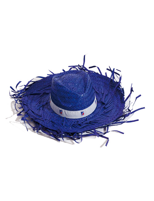 straw hat fringed blue