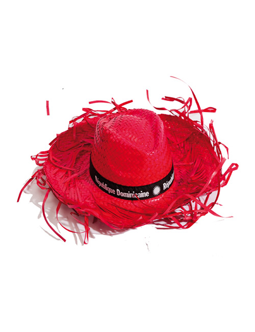 straw hat fringed red