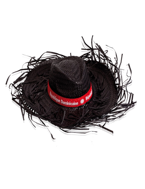 straw hat fringed black