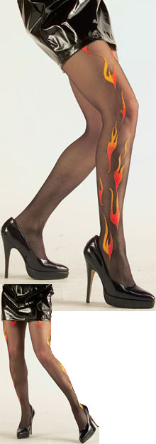 Tights with glitterflames