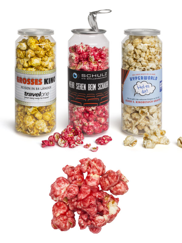 Sweet Raspberry Popcorn in a Large Can