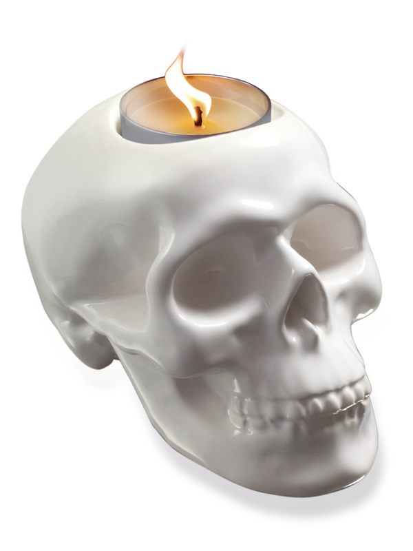 Skull Tealight Holder white